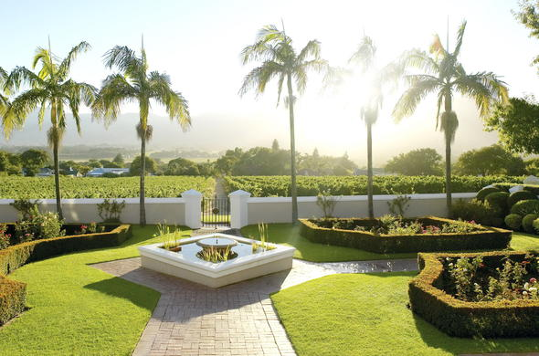 View of the perfectly manicured garden at Grande Roche Hotel.