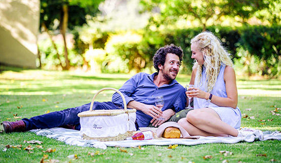 Romantic picnic at a Cape Winelands hotel.