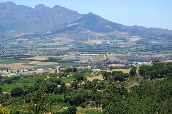 View of Paarl in the Cape Winelands.